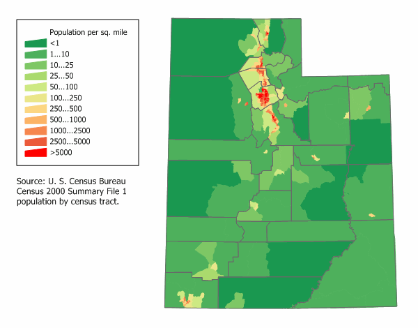 Image result for utah population per square mile