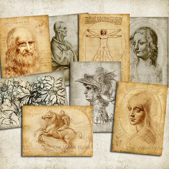Открытки, открытка леонардо да винчи
