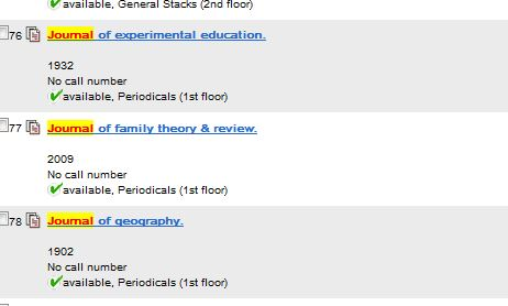 Results from Library Catalog